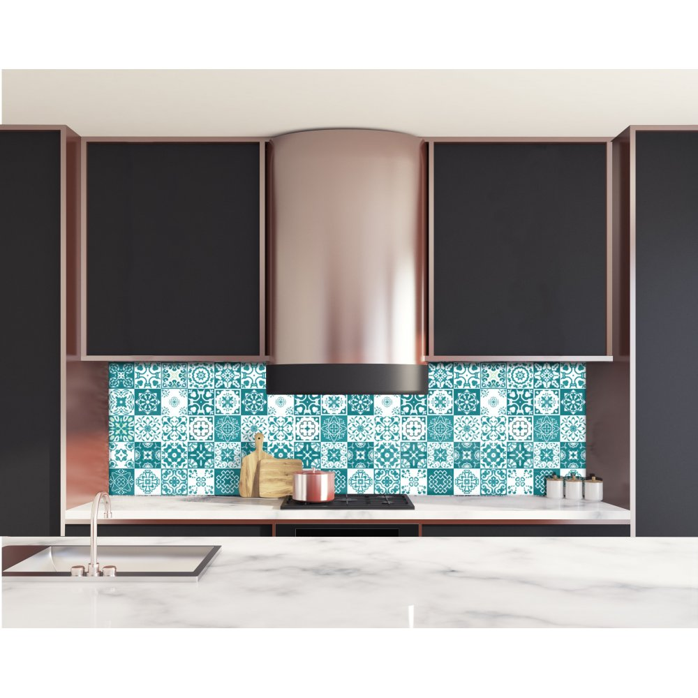cr dence de cuisine carreaux de ciment mosa que bleu vert verre alu. Black Bedroom Furniture Sets. Home Design Ideas