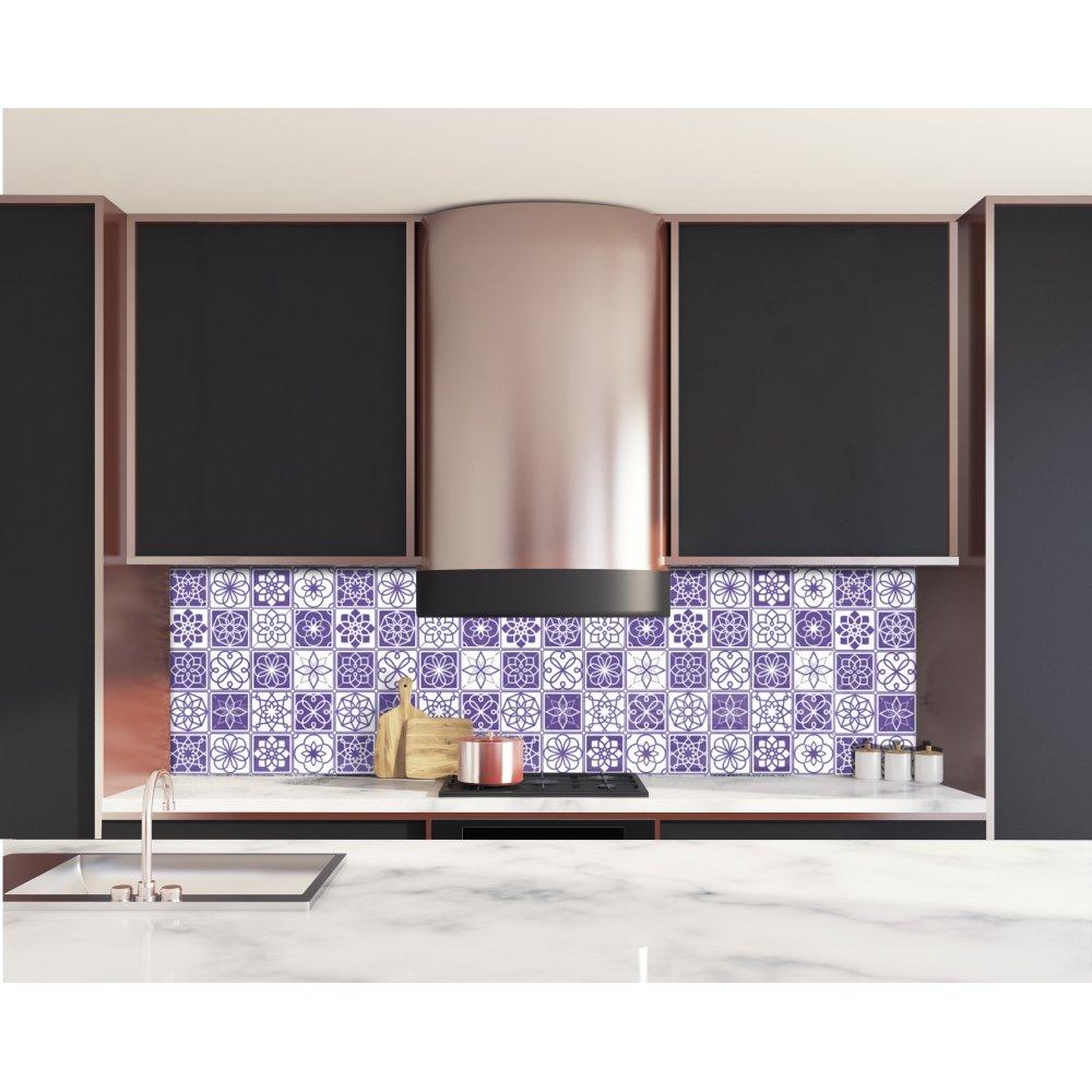 Cr dence de cuisine carreaux de ciment violet et blanc verre et alu - Deco cuisine violet ...