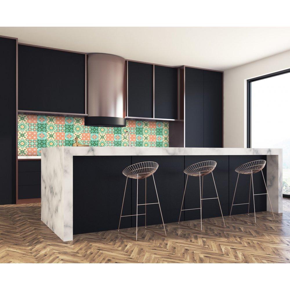 Crédence cuisine carreaux vert et orange - Verre & alu - Livraison 3j