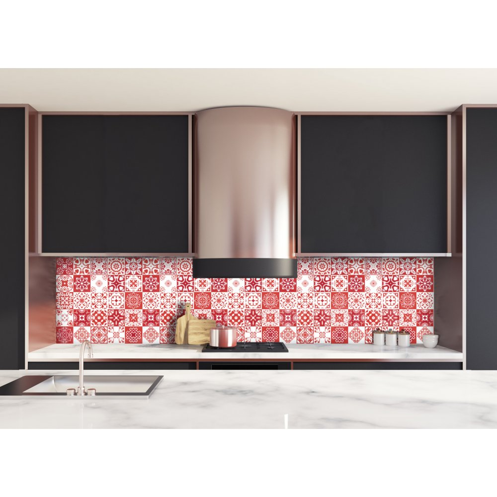 cr dence de cuisine carreaux de ciment mosa que rouge. Black Bedroom Furniture Sets. Home Design Ideas
