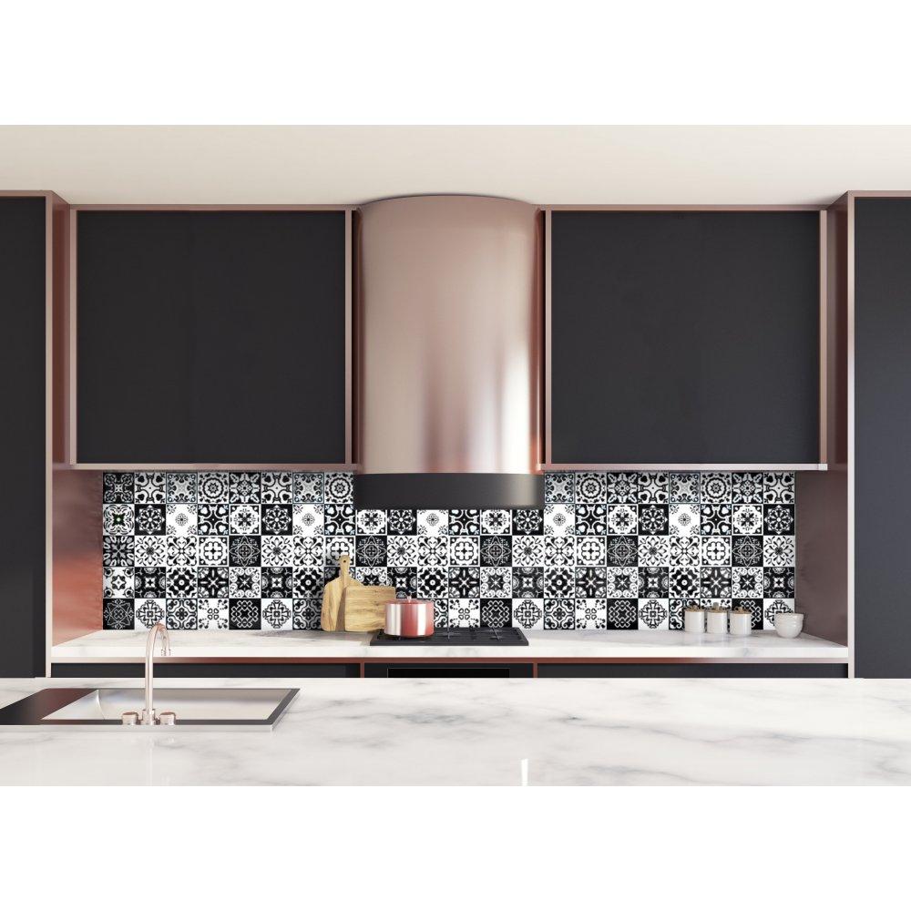 Cr dence de cuisine carreaux mosa que noir intense verre et aluminium - Credence cuisine mosaique ...
