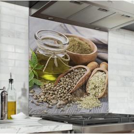 "Fond de hotte de cuisine ""Flacon huile d'olive"""