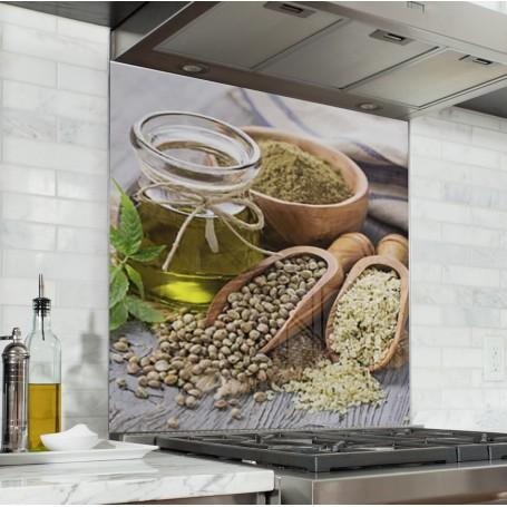 Fond de hotte avec flacons d'huile d'olive