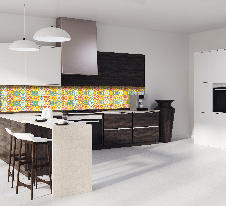 Credence carreaux ciment jaune et orange - Crédence Cuisine Deco