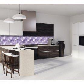 Credence cuisine carreaux de ciment motif géométrique violet
