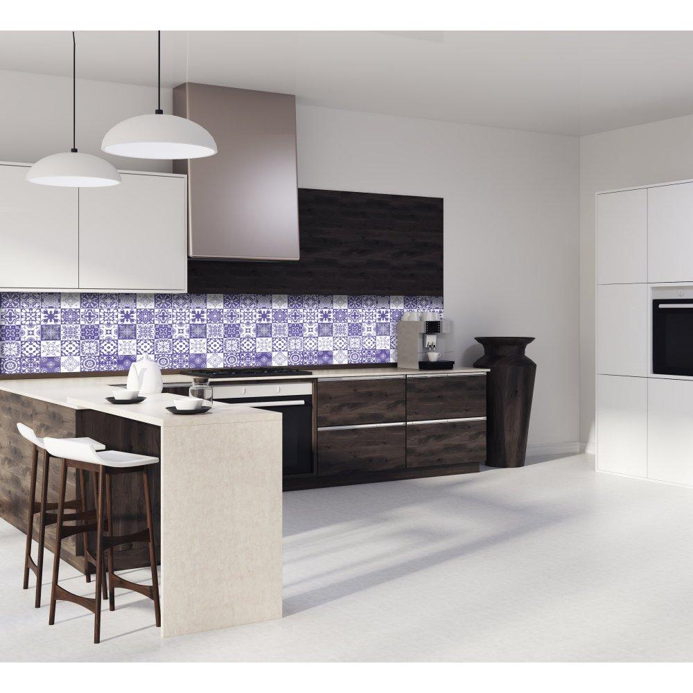 Cr dence de cuisine carreaux de ciment mosa que violet verre alu - Credence cuisine mosaique ...