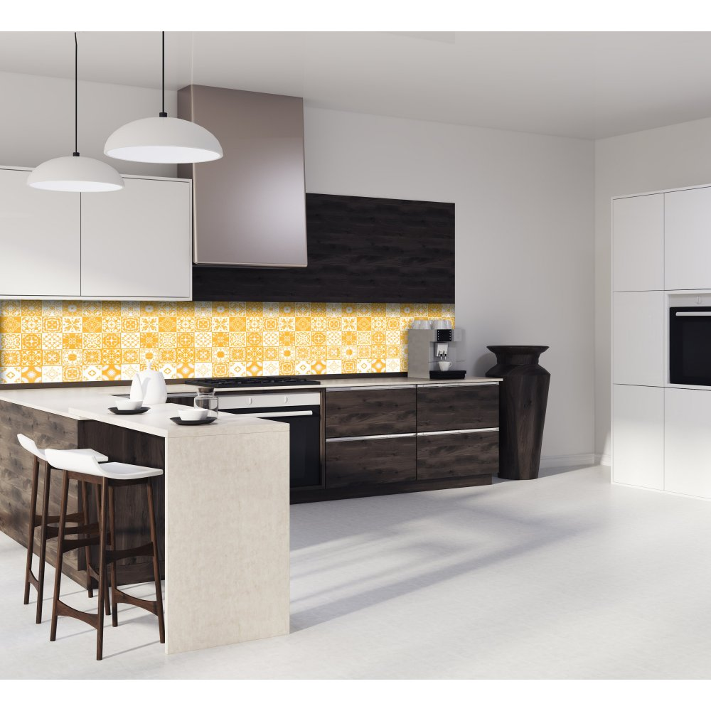 cr dence de cuisine carreaux mosa que jaune curry verre et aluminium. Black Bedroom Furniture Sets. Home Design Ideas