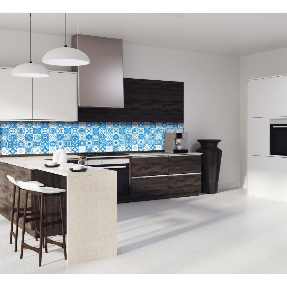 Cr dence de cuisine carreaux de ciment mosa que bleu - Mosaique cuisine credence ...