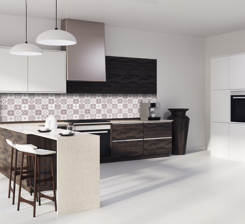 """Crédence de cuisine """"Carreaux de ciment Marron Chataigne et Blanc"""""""