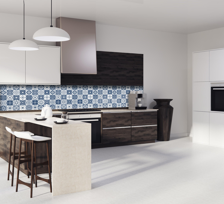 """Cuisine Blanche Et Bleu crédence de cuisine """"carreaux de ciment bleu marine et blanc"""""""