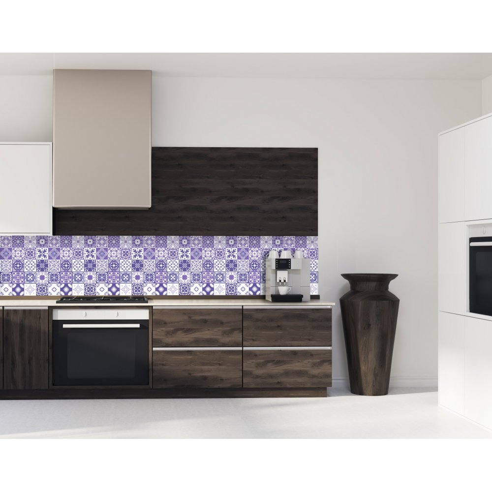 cr dence de cuisine carreaux mosa que am thyste verre et aluminium. Black Bedroom Furniture Sets. Home Design Ideas