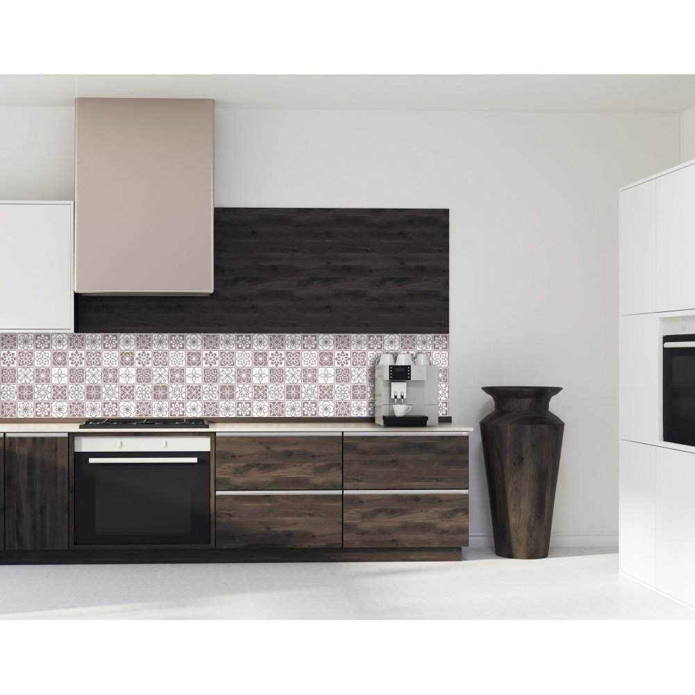 cr dence de cuisine carreaux de ciment marron chataigne verre et alu. Black Bedroom Furniture Sets. Home Design Ideas