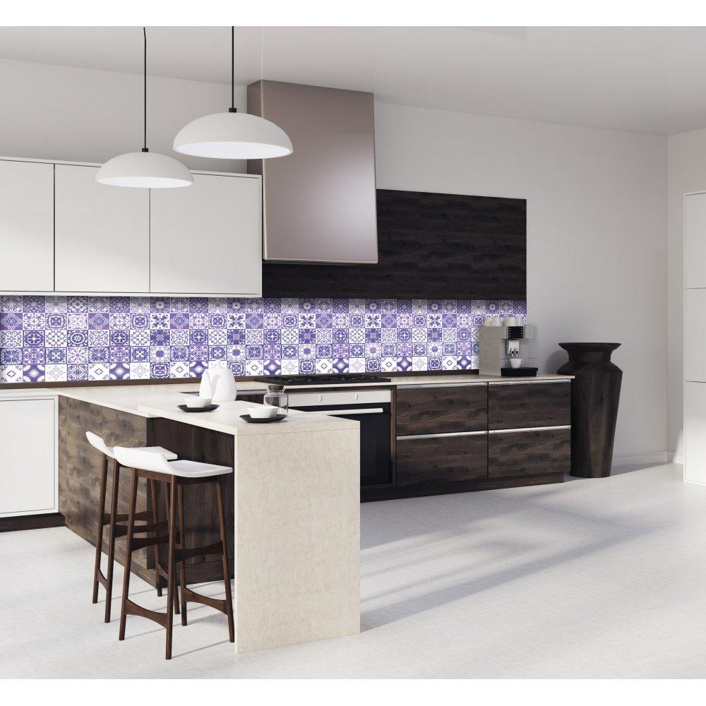 cr dence de cuisine carreaux mosa que am thyste verre et aluminium. Black Bedroom Furniture Sets. Home Design Ideas