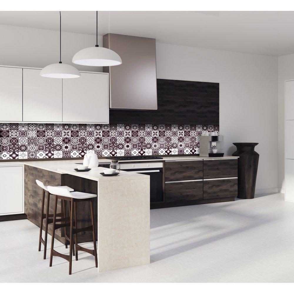 cr dence de cuisine carreaux de ciment mosa que chocolat verre alu. Black Bedroom Furniture Sets. Home Design Ideas