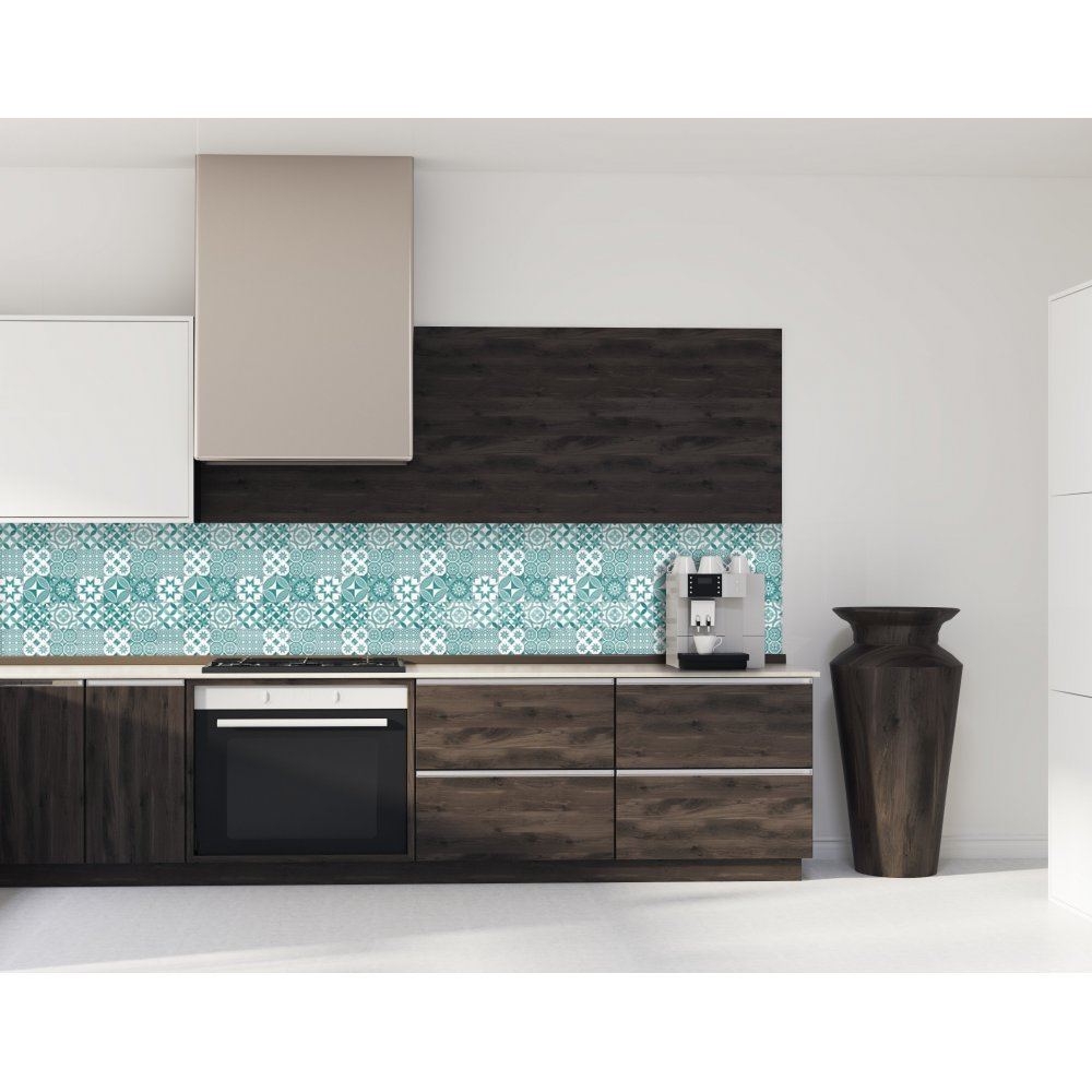 cr dence de cuisine motif g om trique bleu vert verre et alu. Black Bedroom Furniture Sets. Home Design Ideas