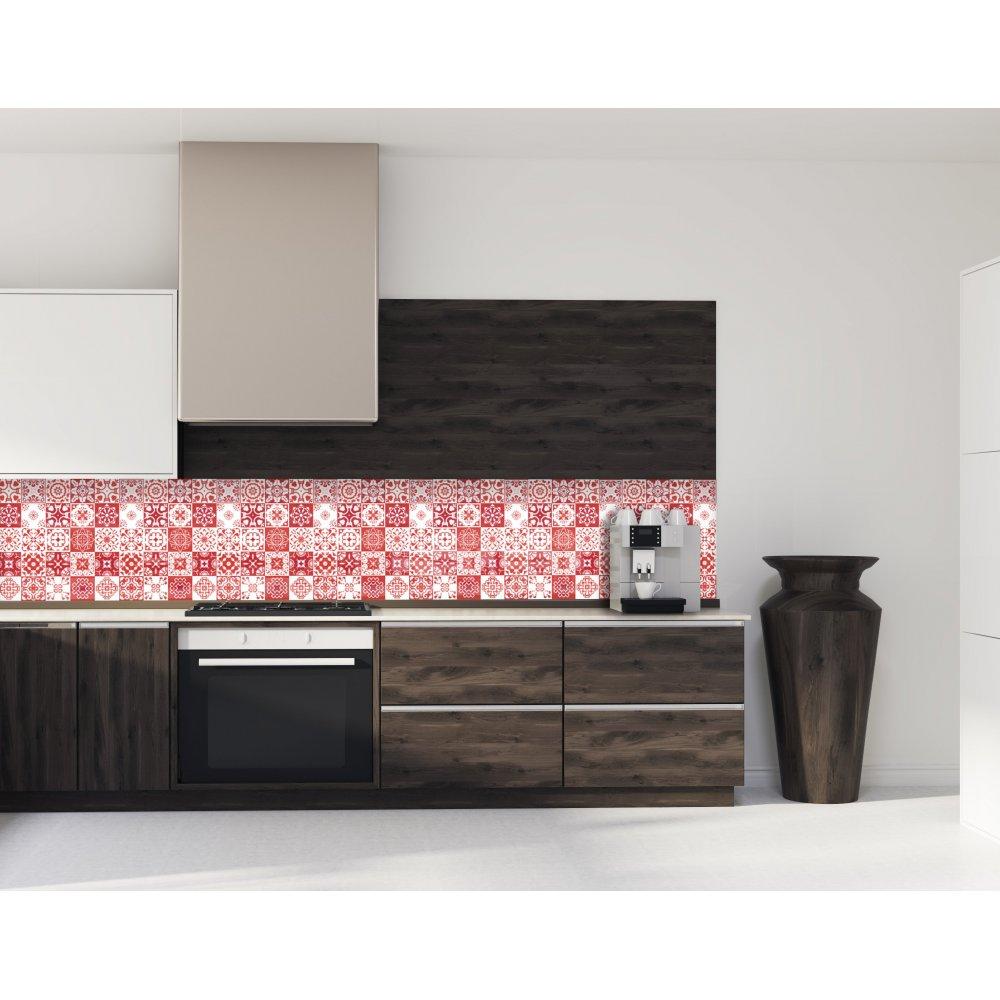 cr233dence de cuisine carreaux de ciment mosa239que rouge