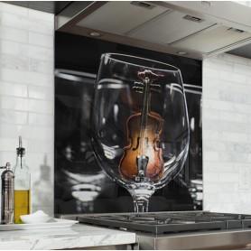 """Fond de hotte de cuisine """"Verres à vin avec violon"""""""