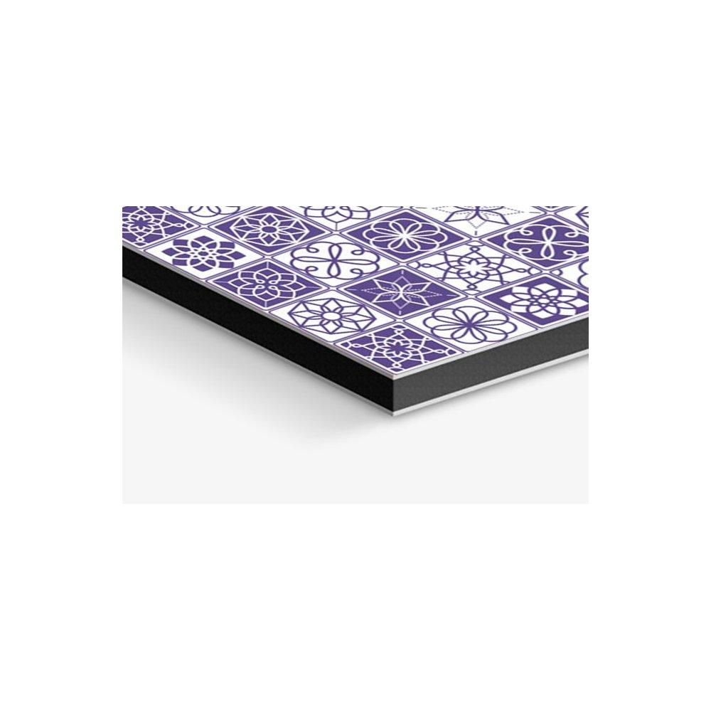 cr233dence de cuisine carreaux de ciment violet et blanc