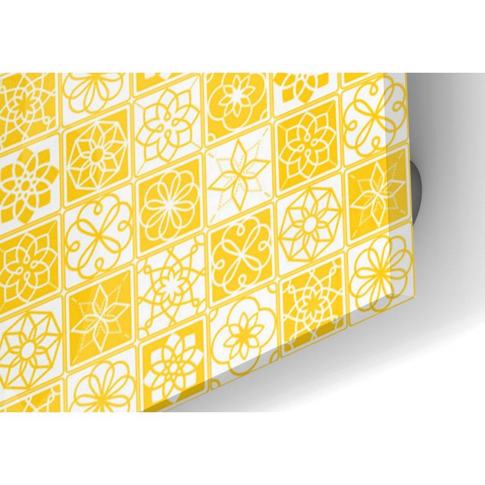 cr dence de cuisine carreaux de ciment jaune et blanc verre et alu. Black Bedroom Furniture Sets. Home Design Ideas