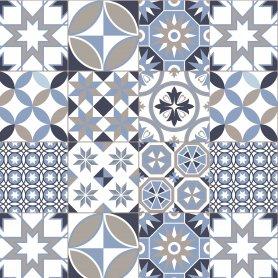 """Fond de hotte """"Carreaux de ciment motif géométrique bleu taupe"""""""