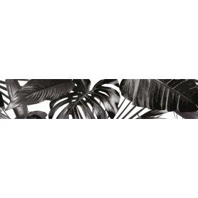 """Frise, Crédence """"Feuilles tropicales noir et blanc"""""""