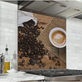 """Fond de hotte de cuisine """"Tasse et grains de café"""""""
