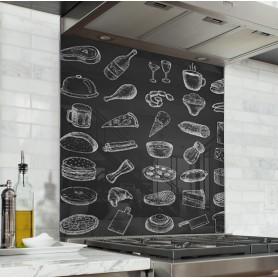 """Fond de hotte de cuisine """"Pictogramme vintage ardoise et craie"""""""