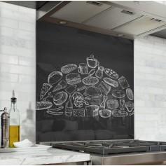 Fond de hotte effet ardoise avec dessins aliments à la craie