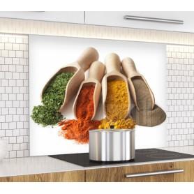 """Fond de hotte de cuisine """"Cuillère épices en bois"""""""