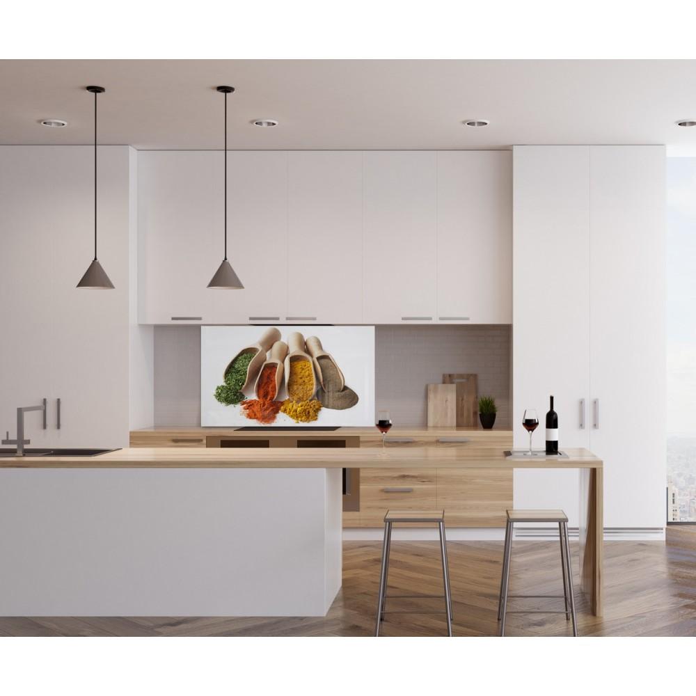 Fond de hotte cuillères épices - Verre et alu - Credence Cuisine Deco
