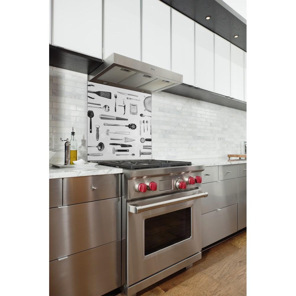 fond de hotte ustensiles cuisine verre alu credence cuisine deco. Black Bedroom Furniture Sets. Home Design Ideas