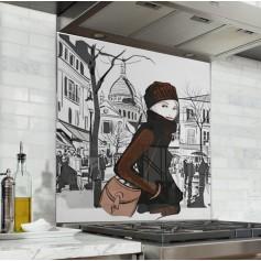 Fond de hotte dessin femme au square de Montmartre Paris
