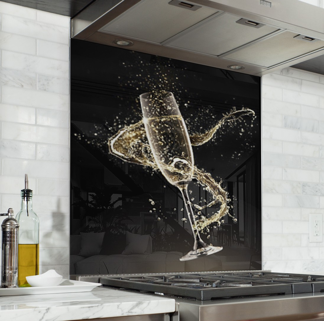 Fond De Hotte Noir Coupe Champagne Verre Alu Credence Cuisine Deco