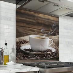 Fond de hotte tasse de café fumante