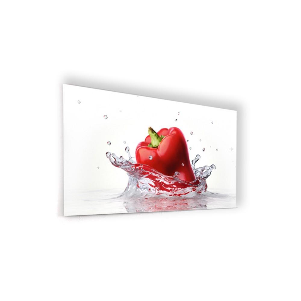 Fond de hotte blanc poivron rouge verre alu credence for Fond blanc cuisine