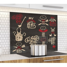 Fond de hotte noir avec dessins aliments et inscription My kitchen My rules