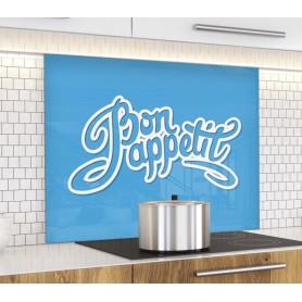 Fond de hotte bleu avec inscription Bon Appétit