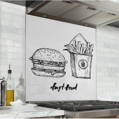 Fond de hotte blanc avec repas fast food vintage