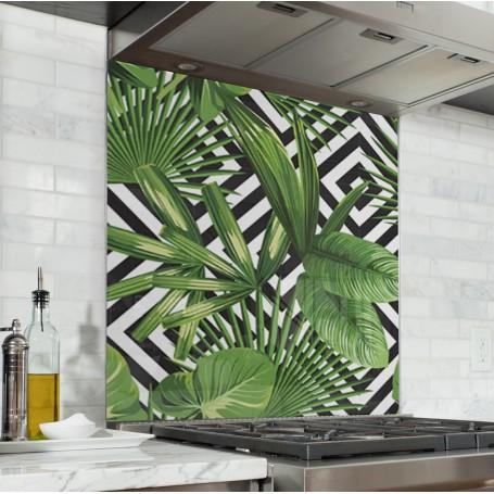 Fond de hotte géométrique noir et blanc avec plantes exotiques vertes