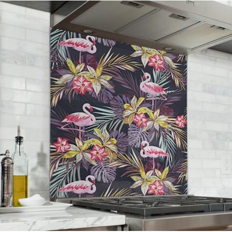 Fond de hotte motifs flamants roses et plantes exotiques