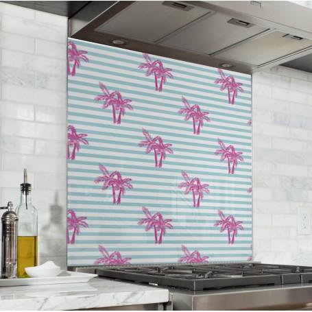 Fond de hotte motif rayures bleu ciel et blanc avec palmiers roses