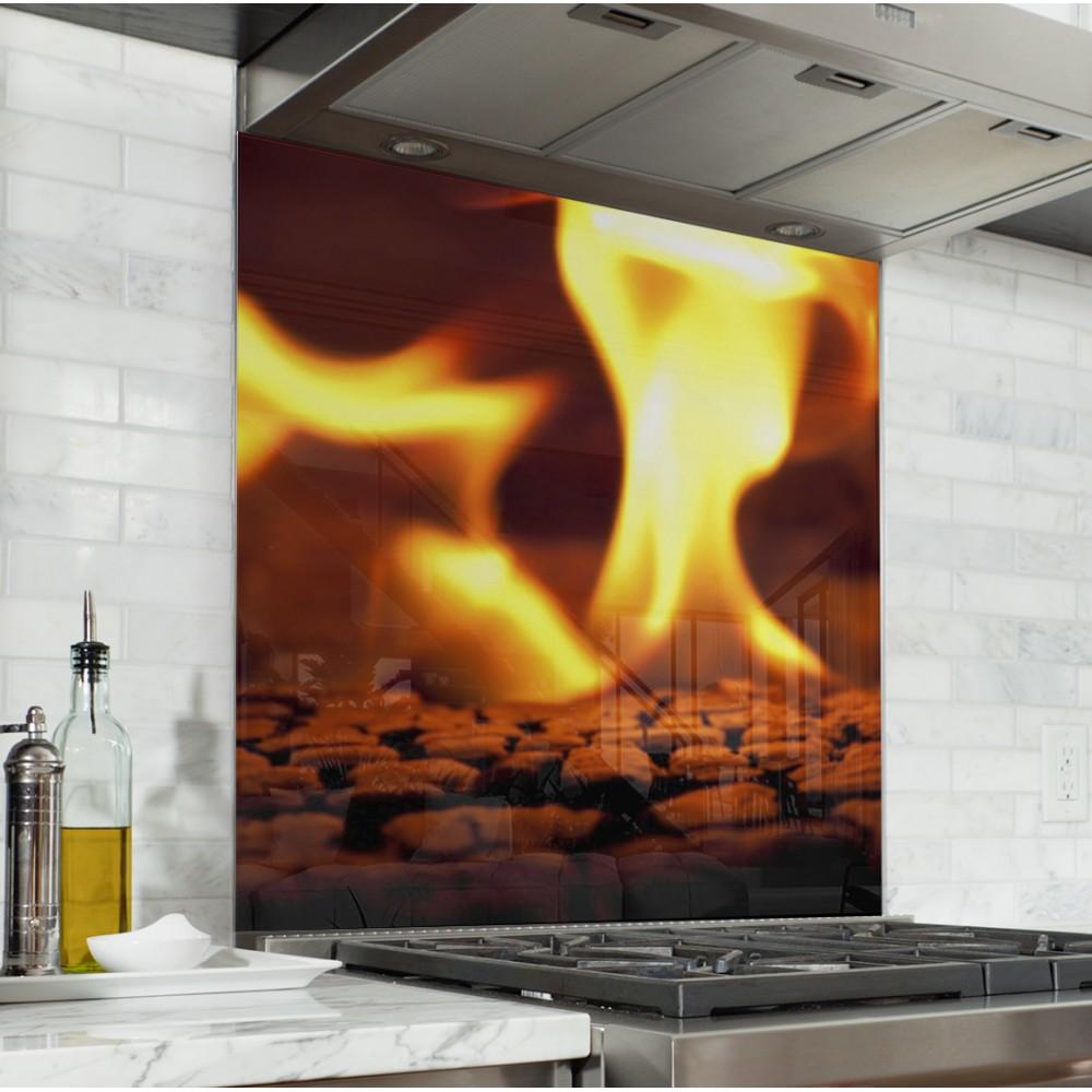 Acheter fond de hotte feu flamme orange cr dence de - Credence cuisine fantaisie ...