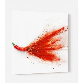Fond de hotte blanc avec explosion de piment rouge