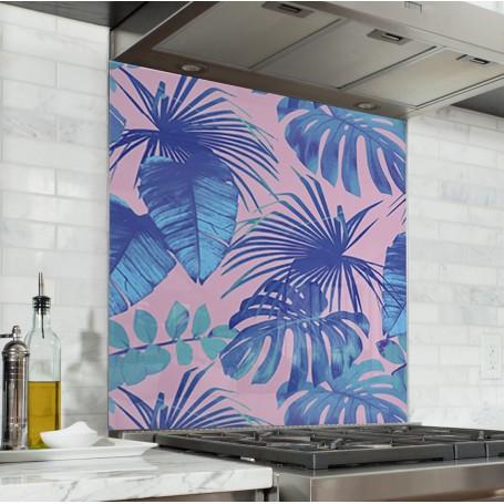 Fond de hotte rose avec plantes tropicales bleues