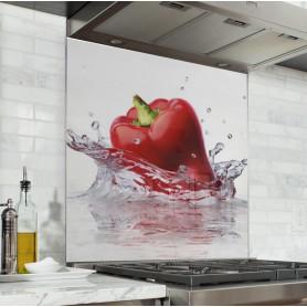 Acheter Fond de hotte crédence de cuisine Splash poivron rouge dans l'eau en verre ou panneau aluminium pas cher