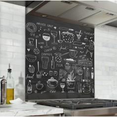 Fond de hotte noir avec dessins aliments cuisine effet craie