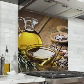 Fond de hotte avec carafes et bocaux huile d'olive