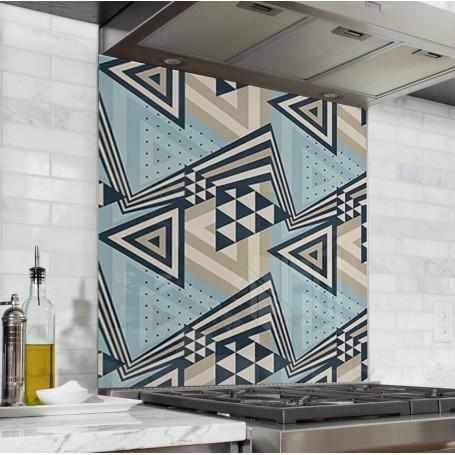 Fond de hotte motifs géométriques triangles bleu, taupe et noir