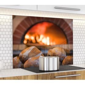 Fond de hotte pain cuits dans un four en brique