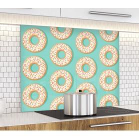 Fond de hotte bleu azur avec motif donuts